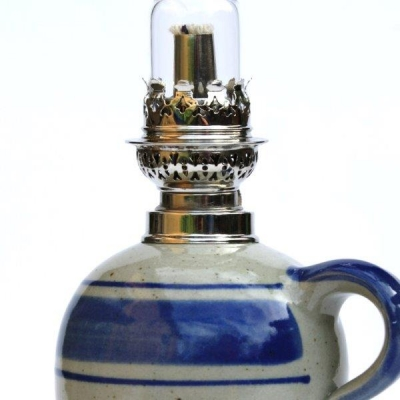 petroleumlampe 2 blau gerades glas t pferei thunig. Black Bedroom Furniture Sets. Home Design Ideas