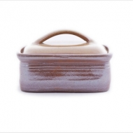 butter dish large  brown