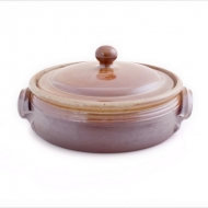 casserole dish large  brown
