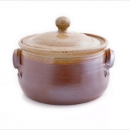 casserole dish large tall  brown