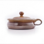 casserole dish shallow small  brown