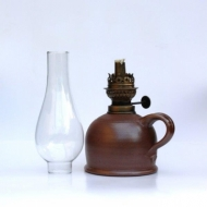 oil lamp small  brown bellied glass