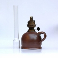 oil lamp small brown straight glass