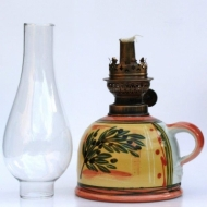 oil lamp large bellied glass