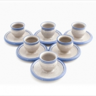 set 6 egg cups with plate
