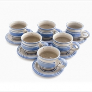 set 6 espresso cups wide-bottomed