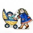 fridge magnet doll`s pram